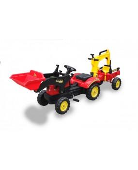 Šľapací traktor / bager s vlečkou a príslušenstvom